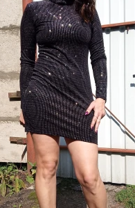 Silver Night mini dress with long sleeves and light spots