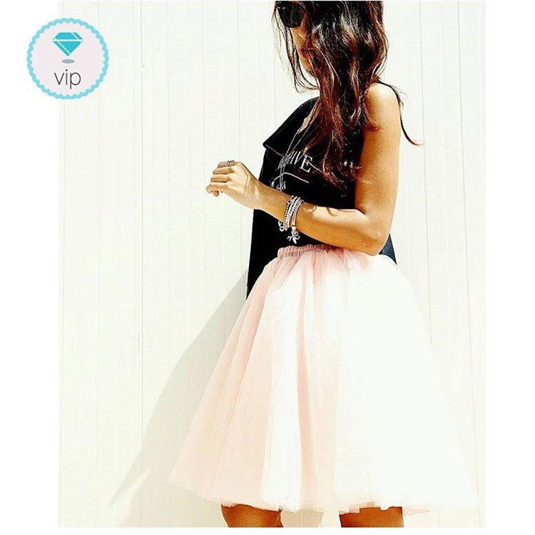 Long high-waisted dance skirt in 7-layer tulle
