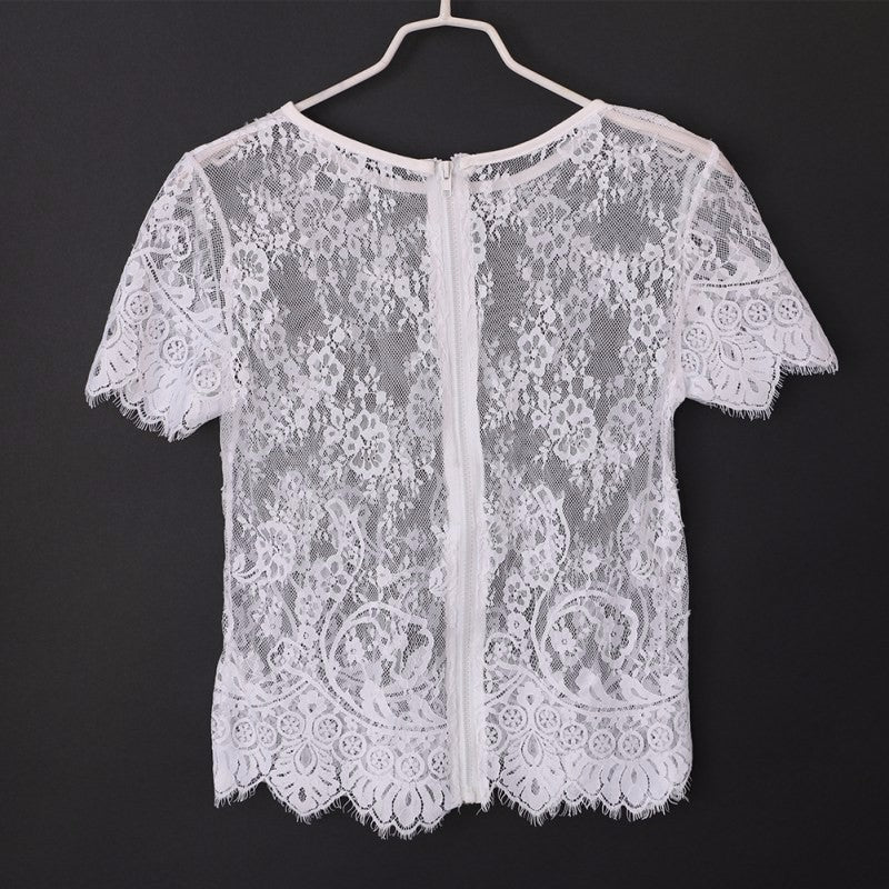Transparent Life sweater with lace