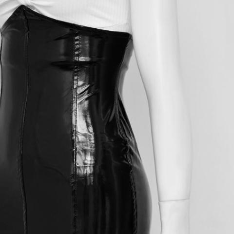 Lindy high-waisted faux leather skirt