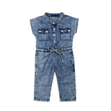 Long sleeveless denim baby jumpsuit