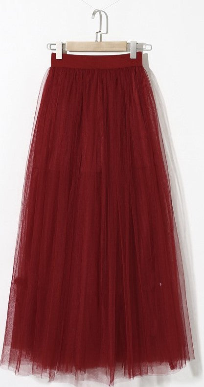 Gonna in tulle rosso a vita alta Maxi Tulle - @ShopLowCost