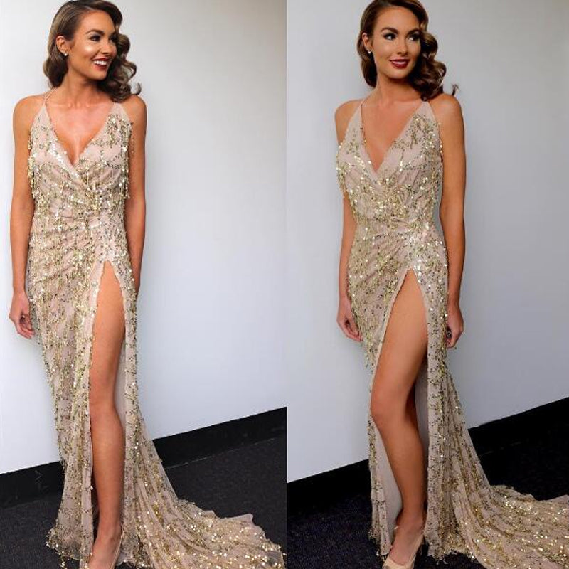 Long Gold Tassel dress with sequins and maxi neckline