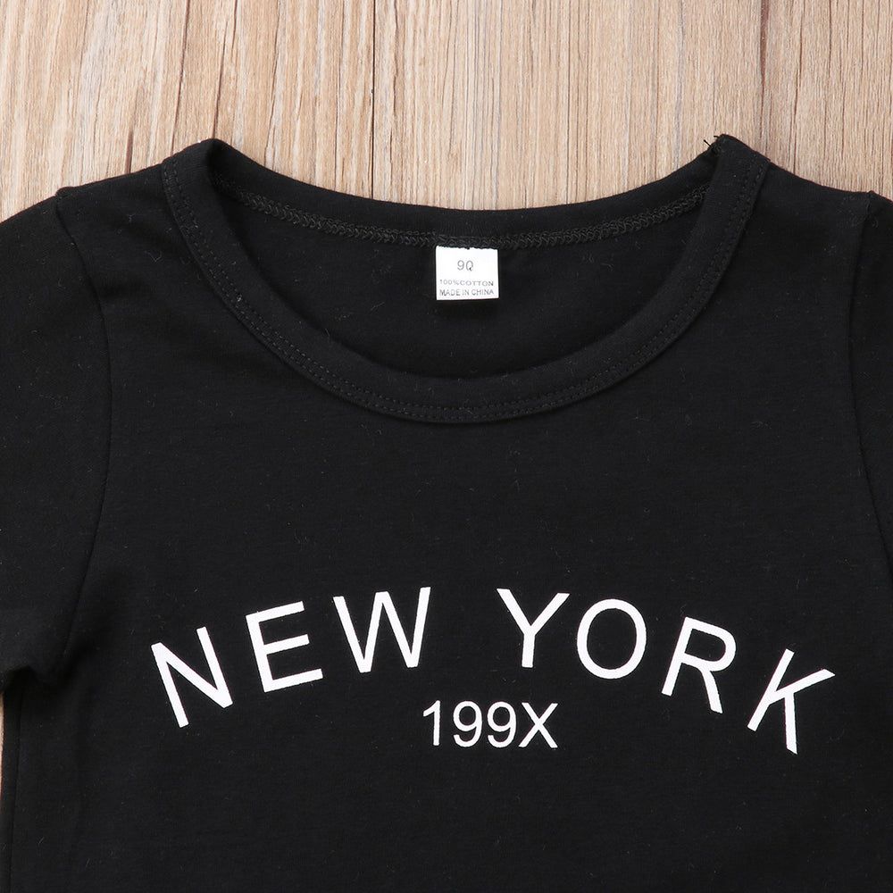 New York baby girl outfit, short skirt and sweater