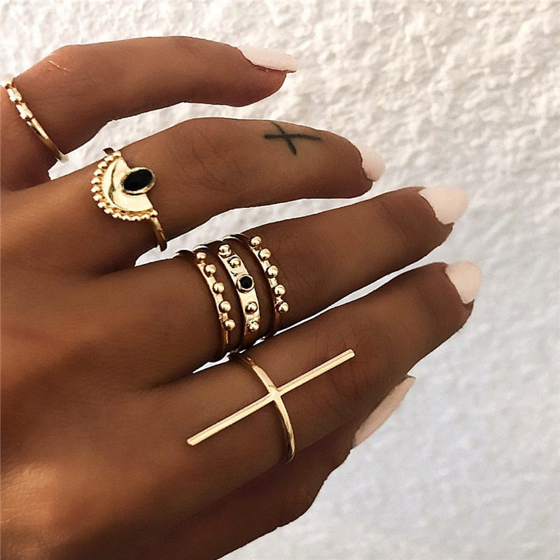 Set of six Jamaica rings