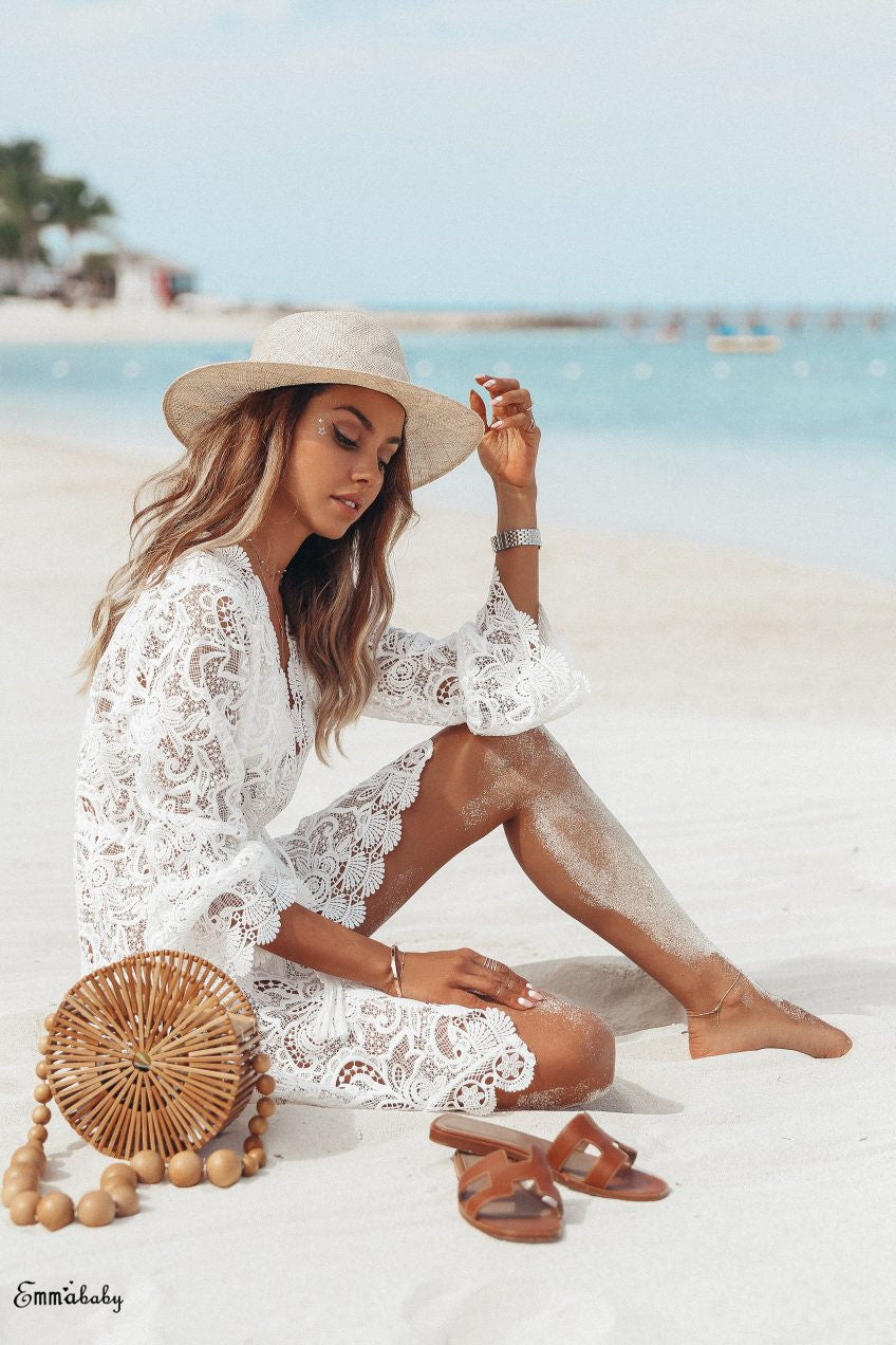 Ivory short cover-up in lace