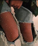 Sequin fishnet tights