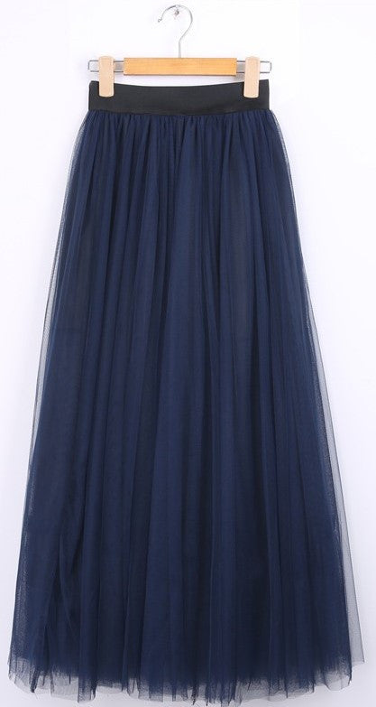 Gonna in tulle blu a vita alta Maxi Tulle - @ShopLowCost