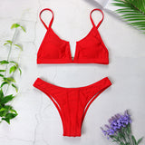 Bikini push up e slip brasiliano rosso - @ShopLowCost