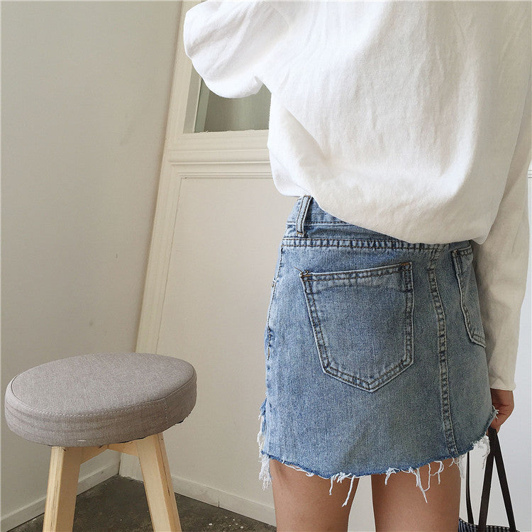 Edges high-waisted Kiky jeans mini skirt