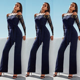 Cherry long jumpsuit with long lace sleeves