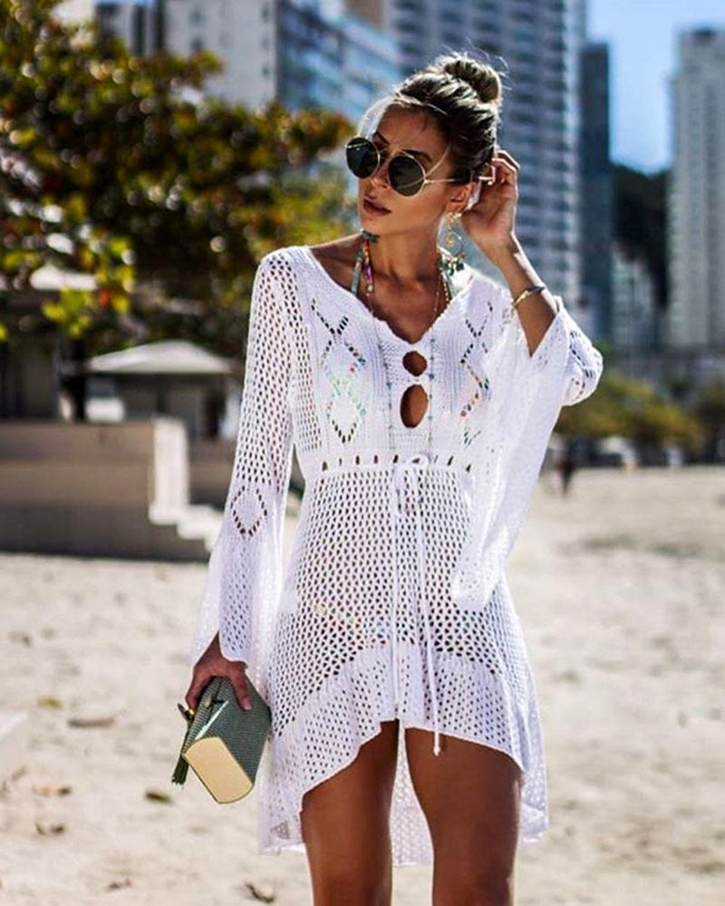 Cleofe short and asymmetrical cover-up