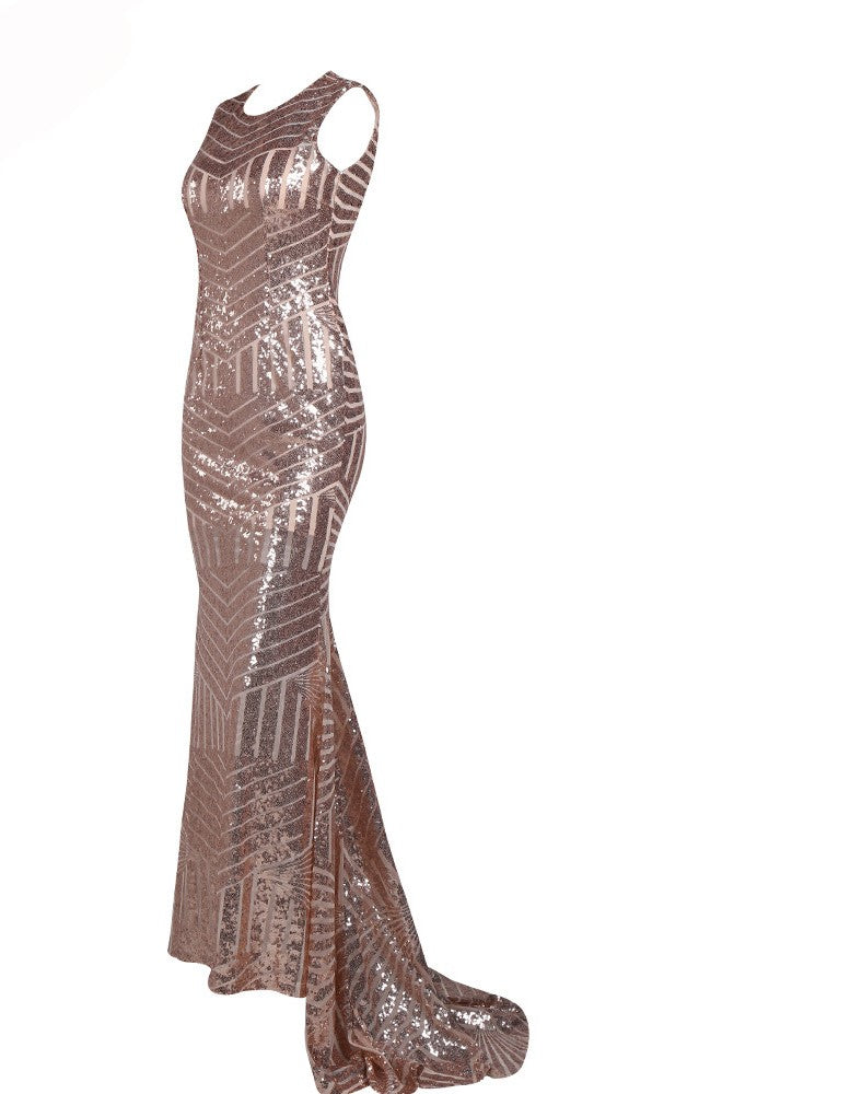 Long Linnie dress with sequins and back zip