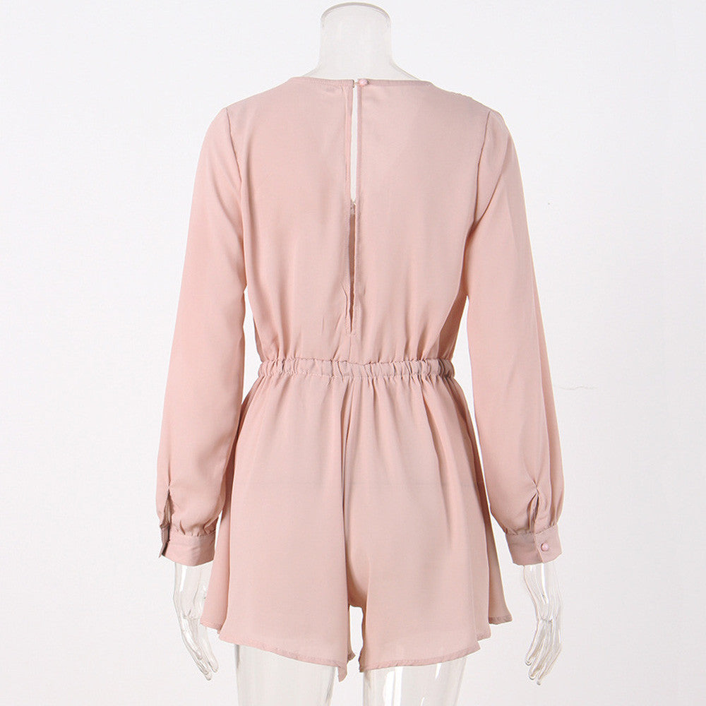 Giusy short jumpsuit with high waist and long sleeves
