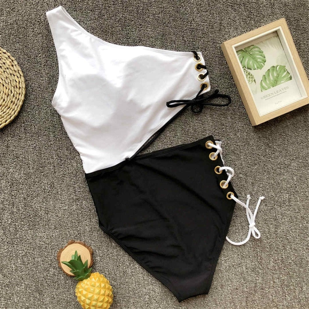 Corsica one shoulder swimsuit with laces