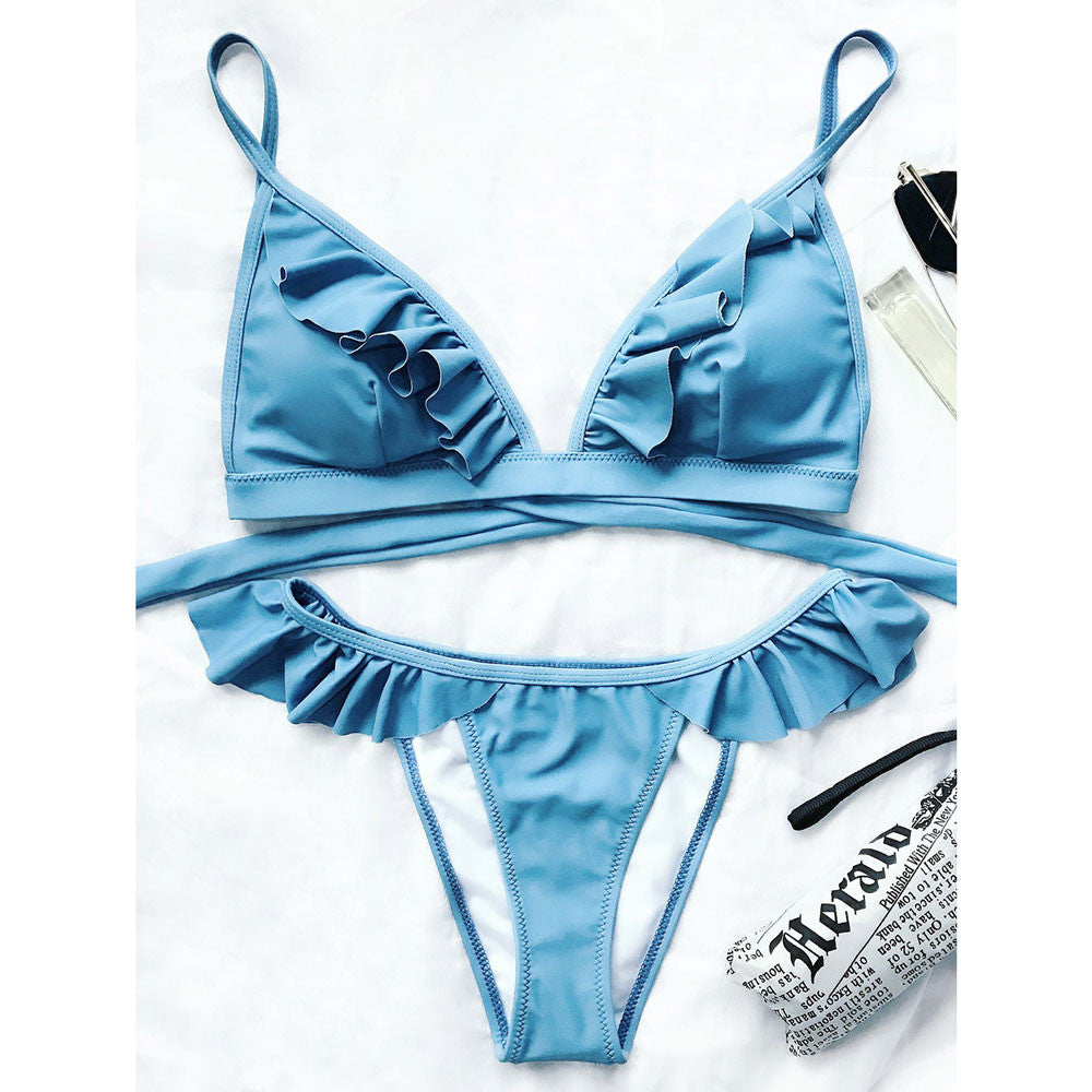 Samantha bikini with triangle frappe and high-leg briefs