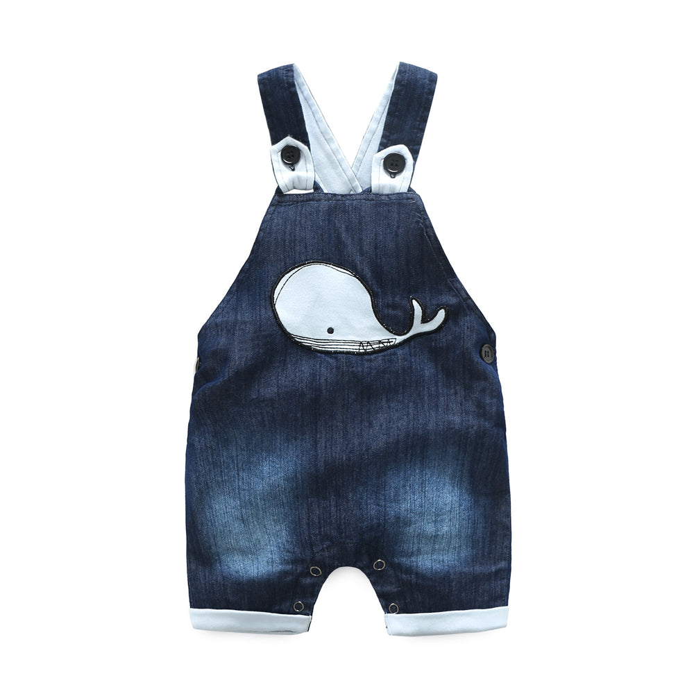 Sea Blue baby boy's denim dungarees and short-sleeved bodysuit