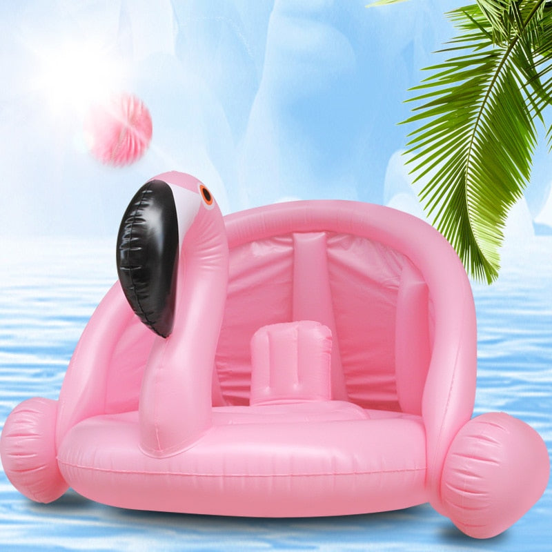 Flamingo-shaped floating pool
