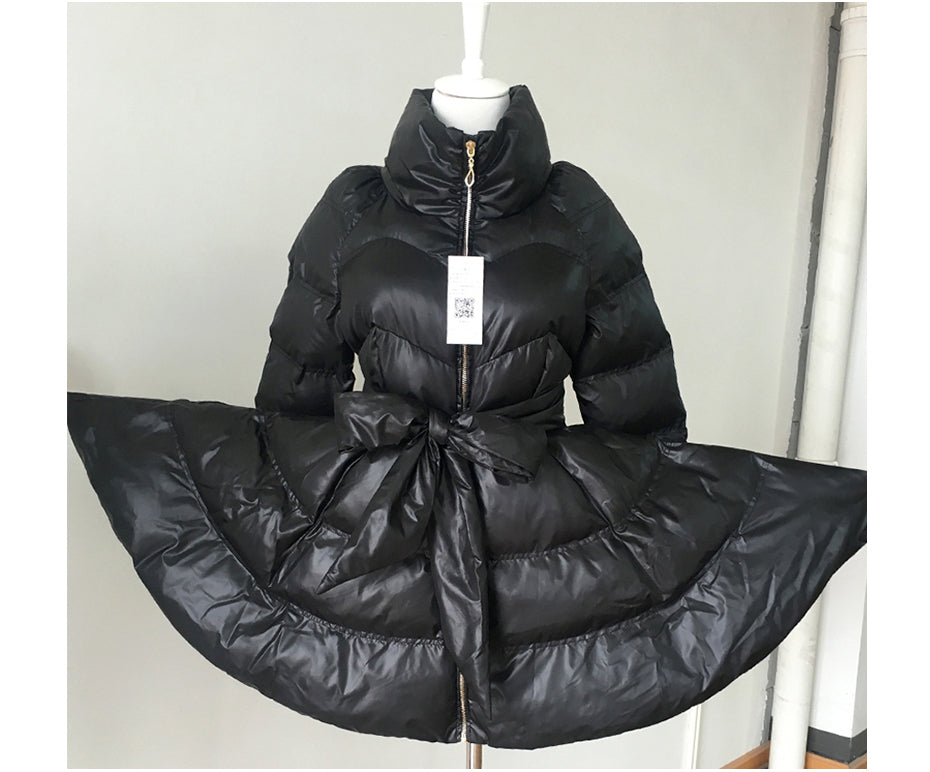 Down jacket with belt and Round Bow bow