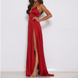Long Lalla dress with maxi side slit and back zip