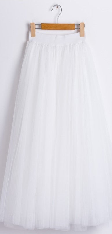 Gonna bianca in tulle a vita alta Maxi Tulle - @ShopLowCost