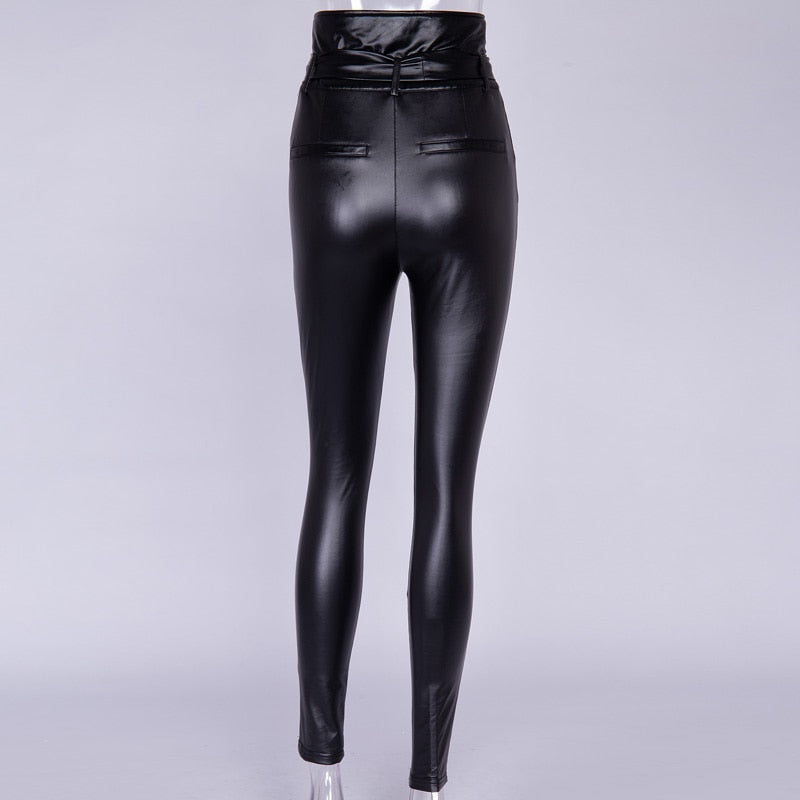 Nixy trousers in high-waisted faux leather