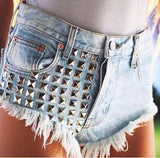 Studded high-waisted jeans shorts