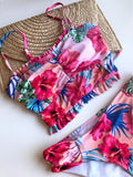 Ester tankini swimsuit with floral print