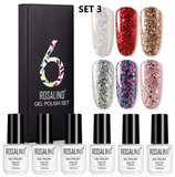 Set da 6 smalti Gel Polish Semipermanenti Glitter Diamond
