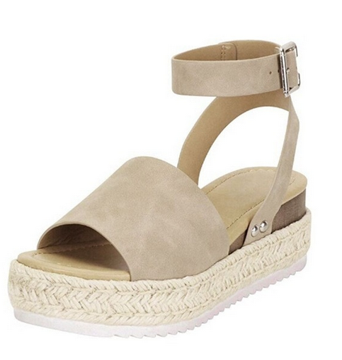 Island sandal open and strap closure