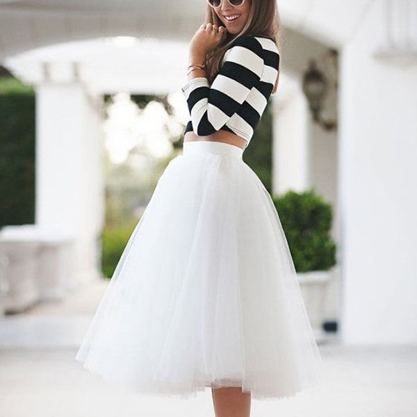 Gonna lunga a vita alta in tulle bianca 7 Strati - @ShopLowCost