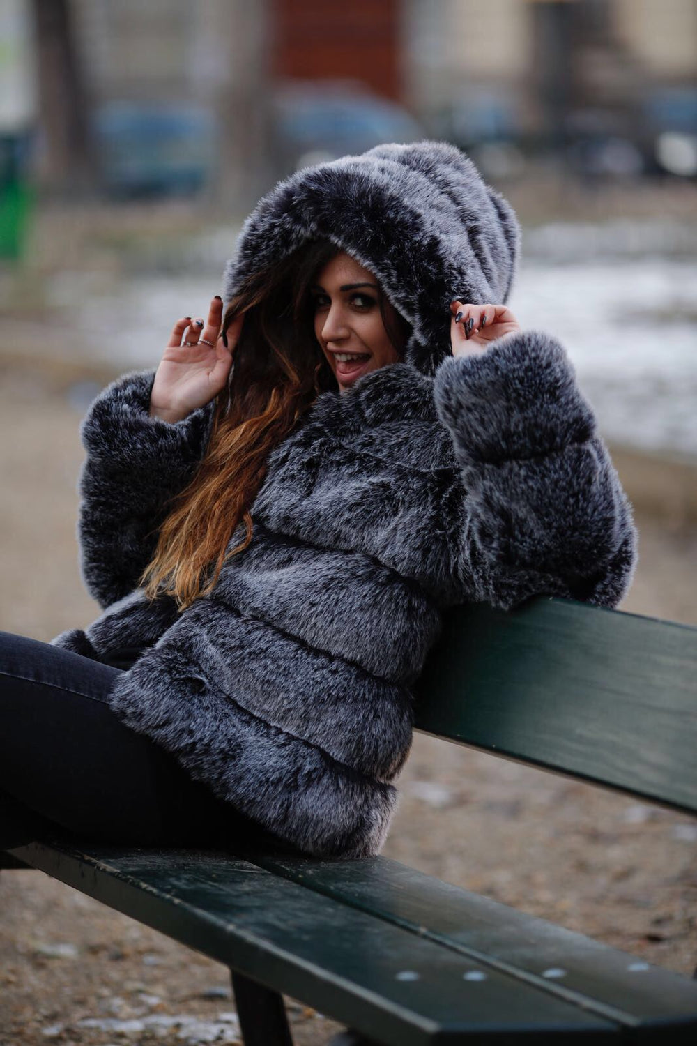 Fluffy Dream faux fur jacket with hood