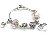 Children's 2020 'Candy Pink' Flower Girl Silver Plated Charm Bead Bracelet