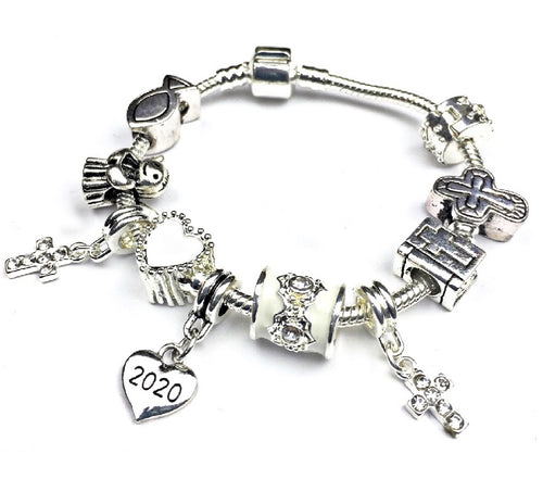Girls First Holy Communion/Confirmation Silver Plated 2020 Charm Bracelet