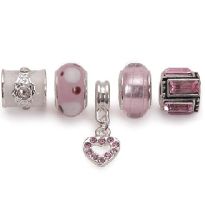 Set of 5 Silver Plated Pink Charms and Beads