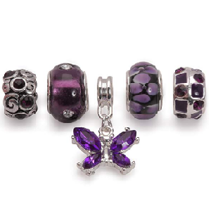 Set of 5 Silver Plated Purple Charms and Beads