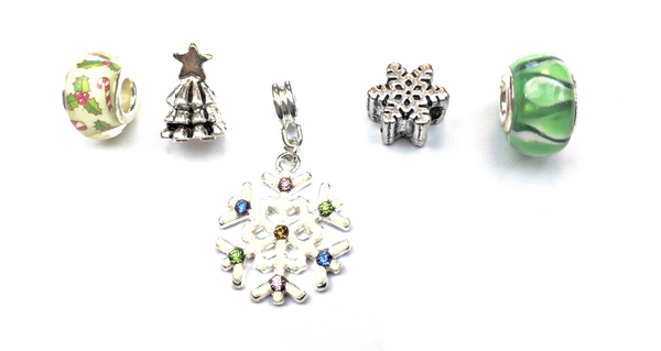 Set of 5 Silver Plated Green Christmas Themed Charms and Beads