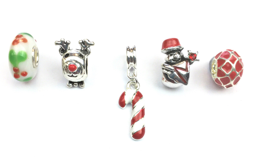 Set of 5 Silver Plated Red Christmas Themed Charms and Beads