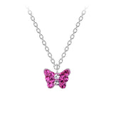 Children's Sterling Silver Pink Crystal Butterfly Pendant Necklace