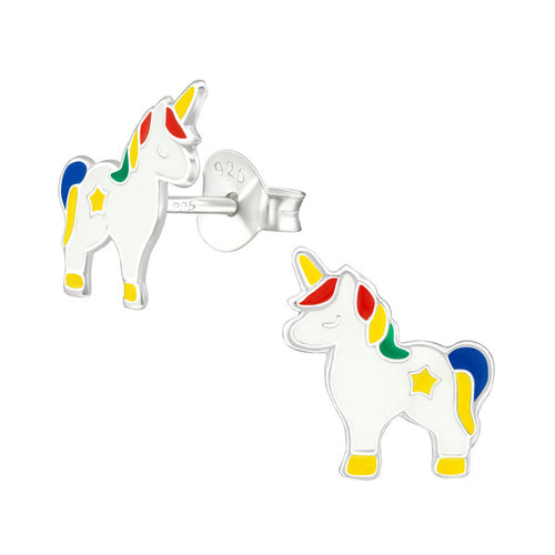 Children's Sterling Silver Rainbow Unicorn Stud Earrings
