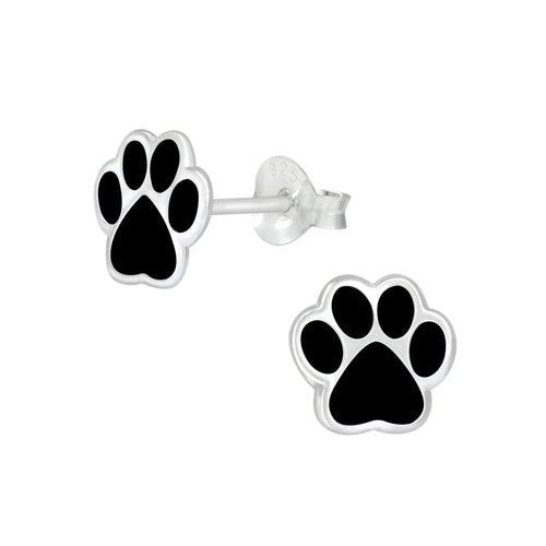 Children's Sterling Silver 'Black Paw Print' Stud Earrings