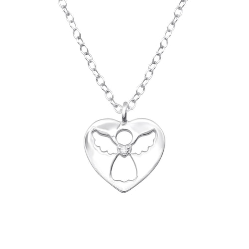 Children's Sterling Silver Angel Heart Pendant Necklace