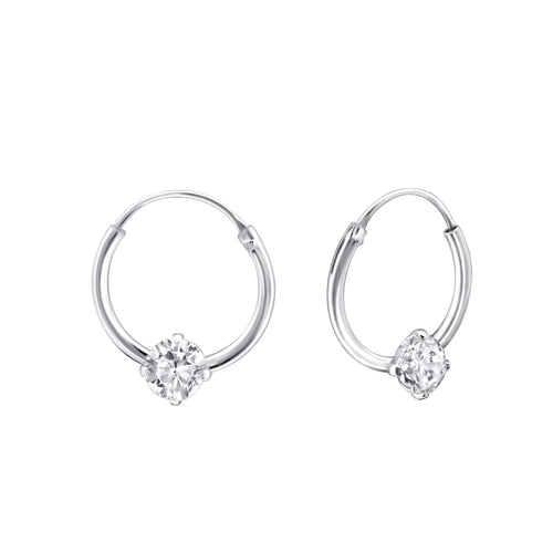 Children's Sterling Silver 'April Birthstone' Hoop Earrings