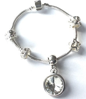 Teenager's 'April Birthstone' Diamond Coloured Crystal Silver Plated Charm Bead Bracelet