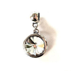 Adult's April Birthstone Diamond Coloured Crystal Drop Charm