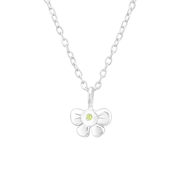 Children's Sterling Silver 'August Birthstone' Bow Necklace