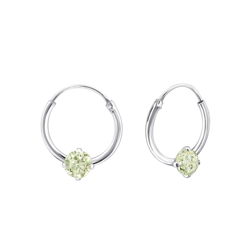 Children's Sterling Silver 'August Birthstone' Hoop Earrings
