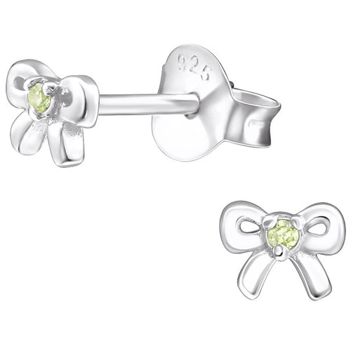 Children's Sterling Silver 'August Birthstone' Bow Stud Earrings