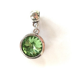 Adult's August Birthstone Peridot Coloured Crystal Drop Charm