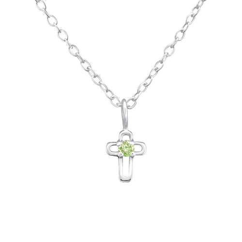 Children's Sterling Silver 'August Birthstone' Open Cross Necklace